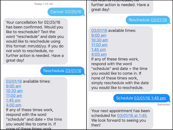 customer scheduling text message software